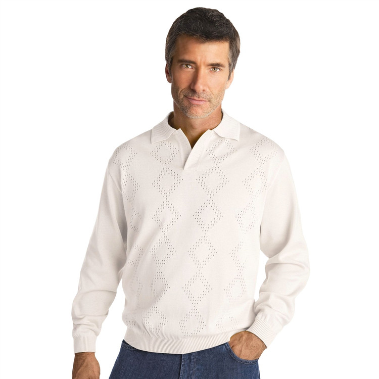 Argyle Mesh Knit Cotton Blend Pullover in White (Size Large) by St. Croix