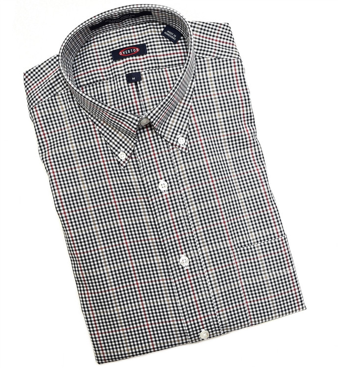 Black, White, and Crimson Check Button-Down Wrinkle Free Sport Shirt by Overton