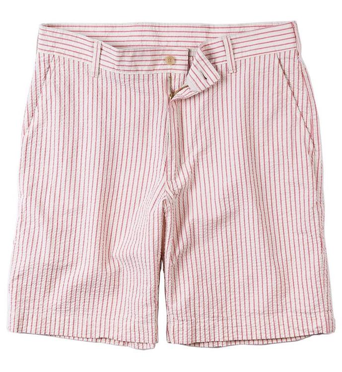 Seersucker Parker Short in Red and Cream Stripe (Size 34) by Bills Khakis