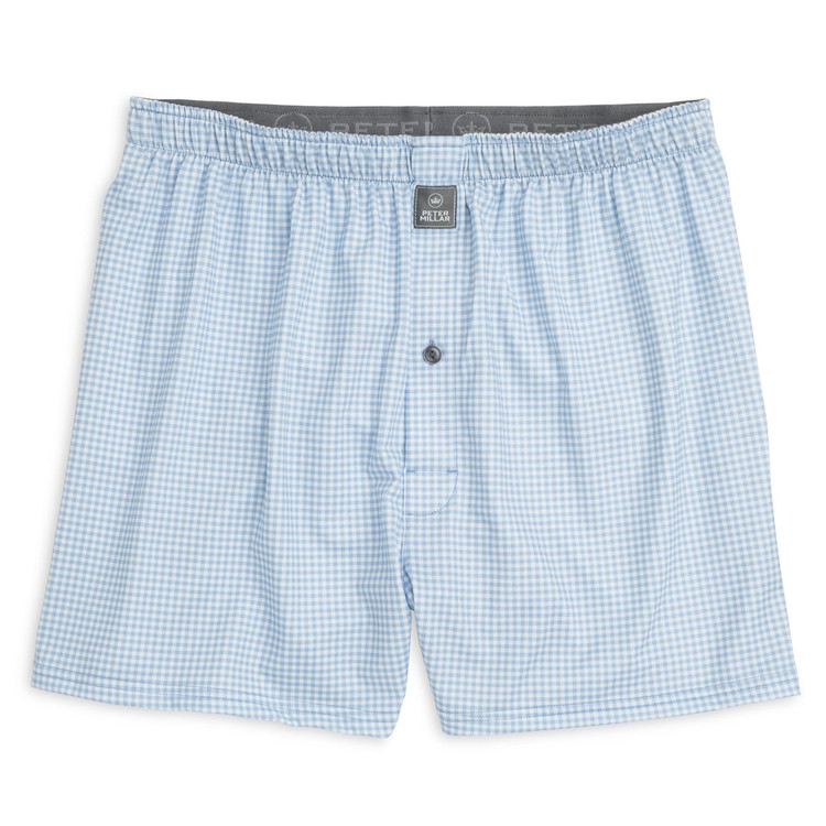 Nebraska Printed Gingham Stretch Jersey Performance Boxer in Cottage Blue by Peter Millar