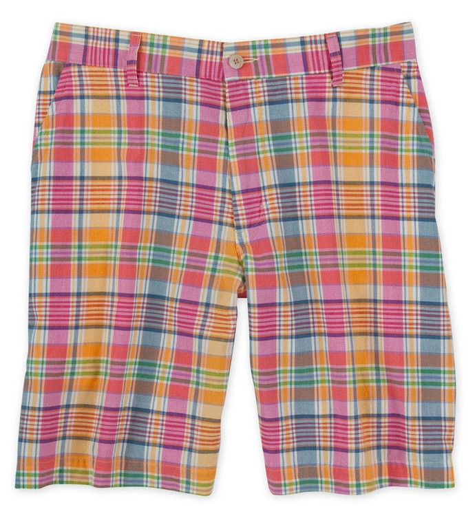 Bermuda Plaid Parker Short in Citrus/Navy by Bills Khakis