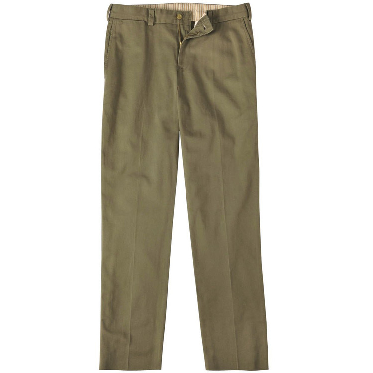 Vintage Twill Pant - Model M3 Trim Fit Plain Front in Olive by Bills Khakis