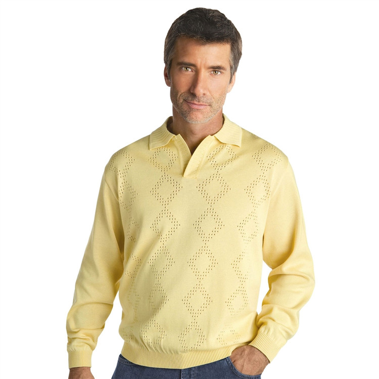 Argyle Mesh Knit Cotton Blend Pullover in Maize (Size Medium) by St. Croix
