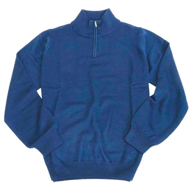 Merino Wool Quarter-Zip Mock Neck Sweater in Indigo by Viyella