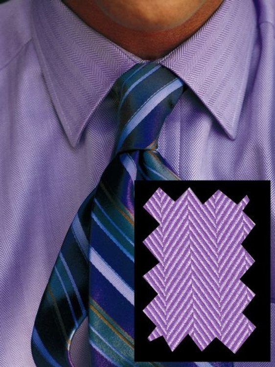 Purple Herringbone Twill Dress Shirt (Size 15 1/2 - 35) by Robert Talbott