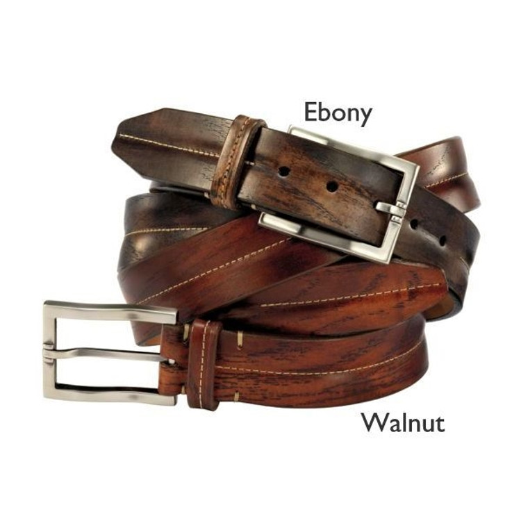 'Kalispell' Timber Grain Calf Belt in Walnut (Size 40) by Martin Dingman