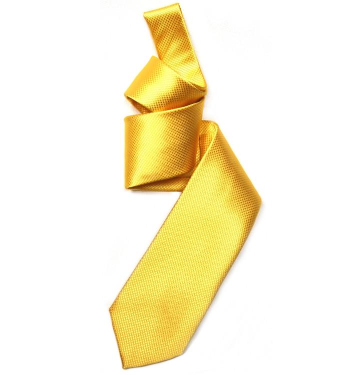 Lemon Solid Dobby Woven Silk Tie by Robert Jensen