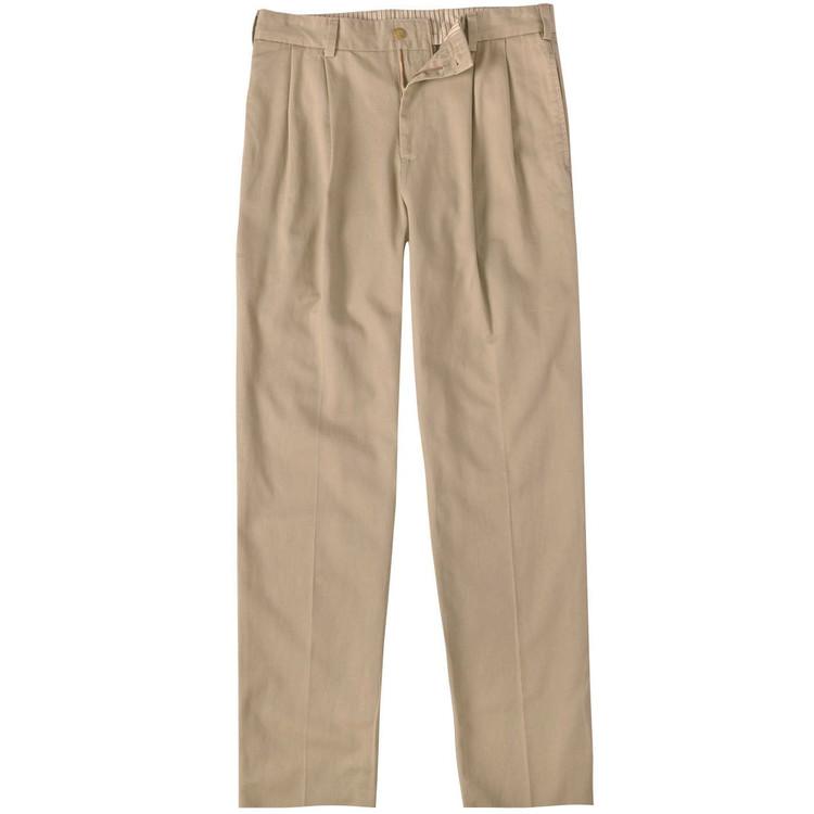 Vintage Twill Pant - Model M2P Standard Fit Reverse Pleat in Khaki by Bills Khakis