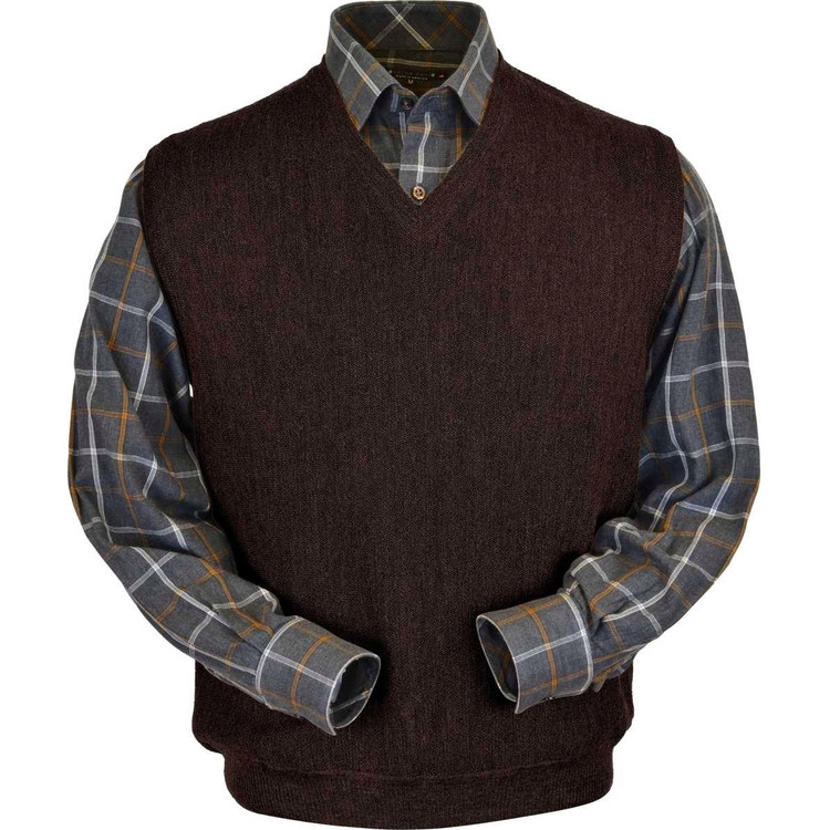 Baby Alpaca Link Stitch Sweater Vest in Bluish Brown Heather by Peru Unlimited