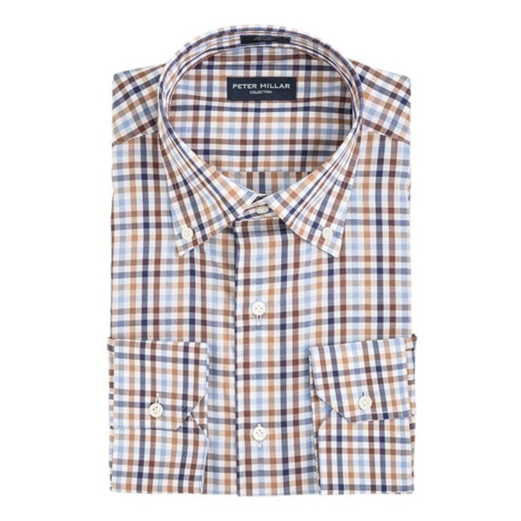 Collection Multi Check Sport Shirt in Tan by Peter Millar
