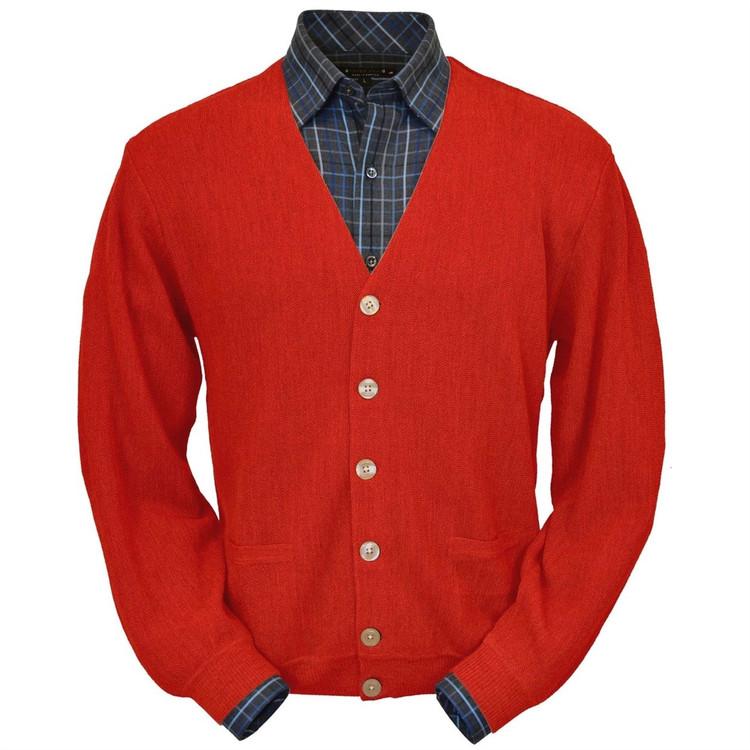Baby Alpaca Link Stitch Cardigan Sweater in Red by Peru Unlimited