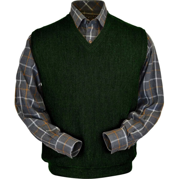Baby Alpaca Link Stitch Sweater Vest in Dark Green Heather by Peru Unlimited