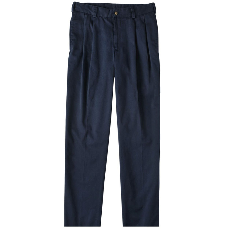 Chamois Cloth Pant - Model M2P Standard Fit Reverse Pleat in Navy by Bills Khakis