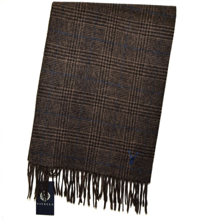 Toffee, Brown, and Black Double Faced Plaid/Solid Wool and Cashmere Scarf by Viyella