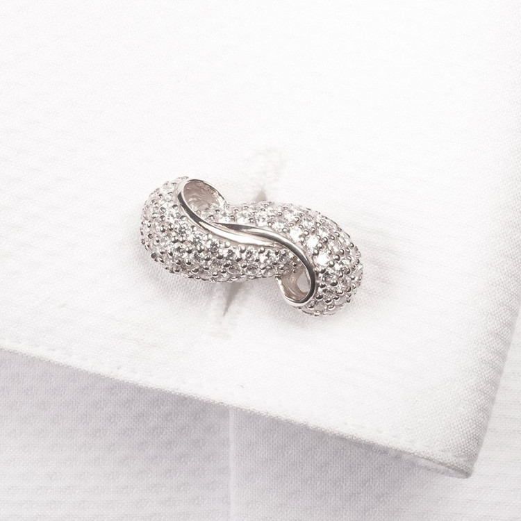 'Loops' CZ and Sterling Silver Cufflinks by Robert Talbott