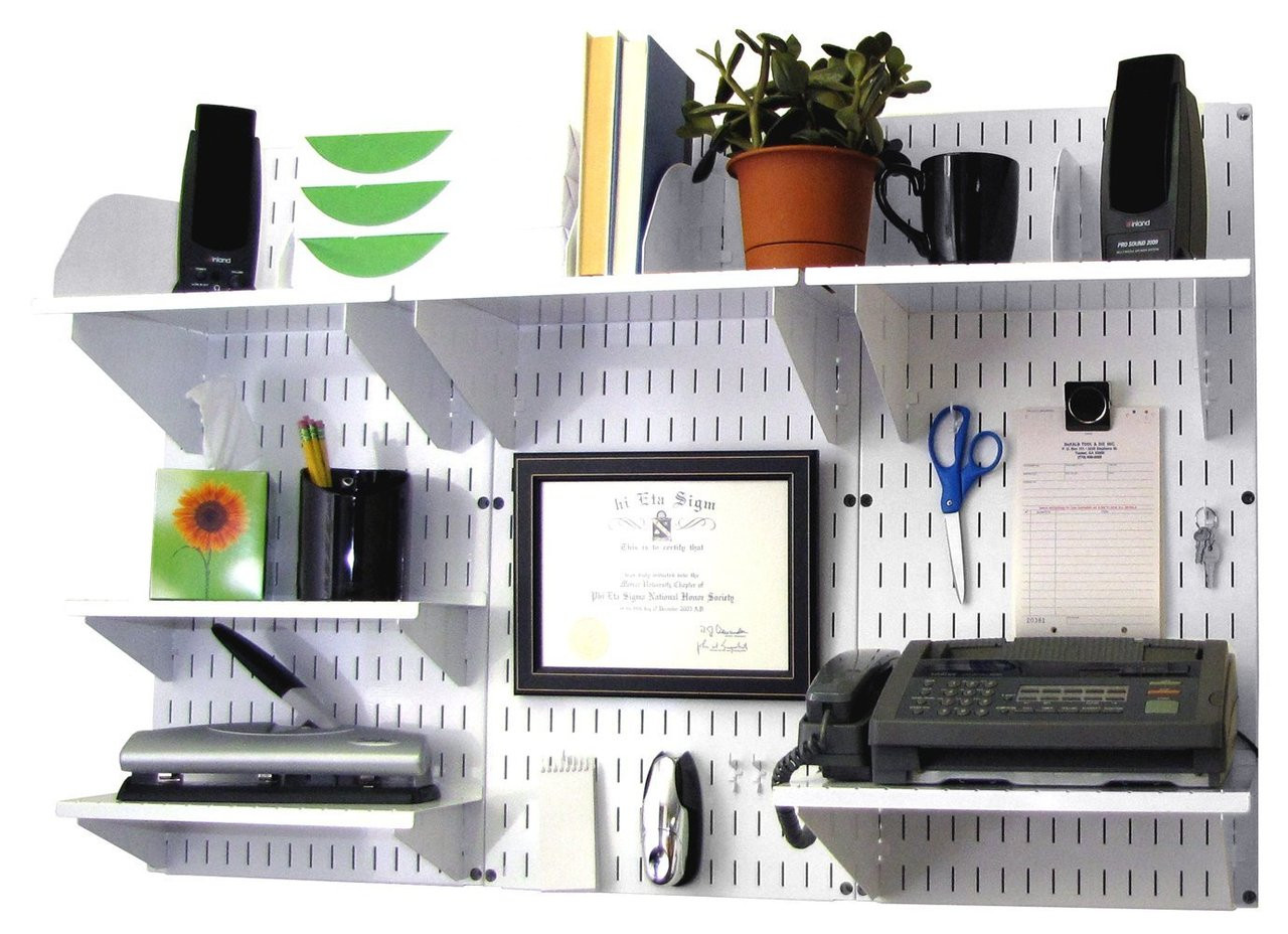 wall mounted office organizer system. Pegboard Office Organizer White Wall Mounted System .