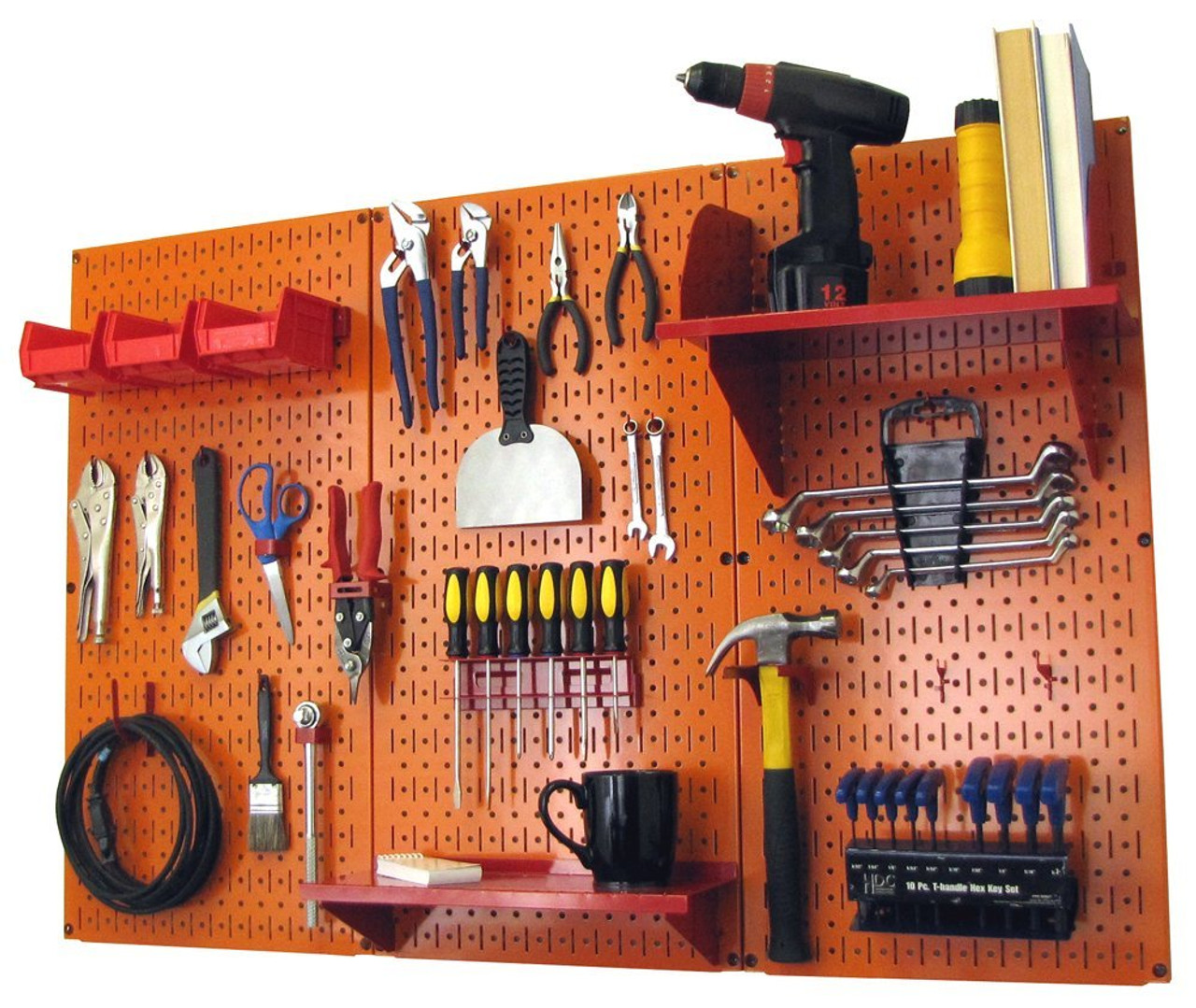 Garage Tools Organizer: 4ft Metal Pegboard Standard Tool Storage Kit
