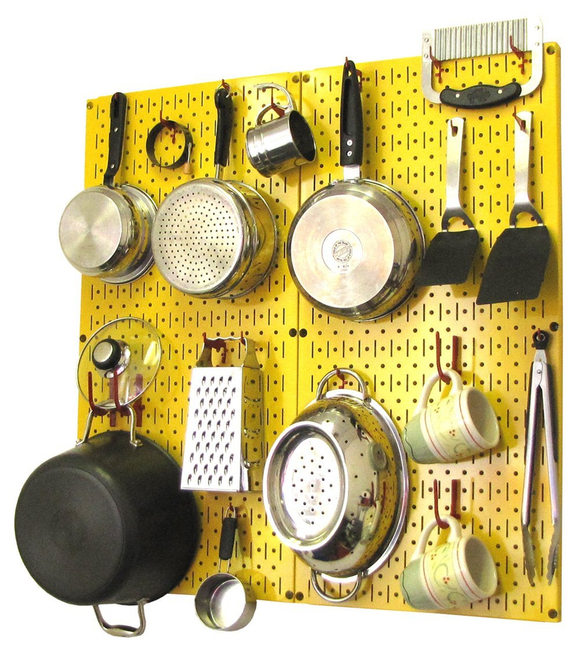 Metal Kitchen Pegboard | Yellow Kitchen Peg Board Organizer | 30-KTH ...
