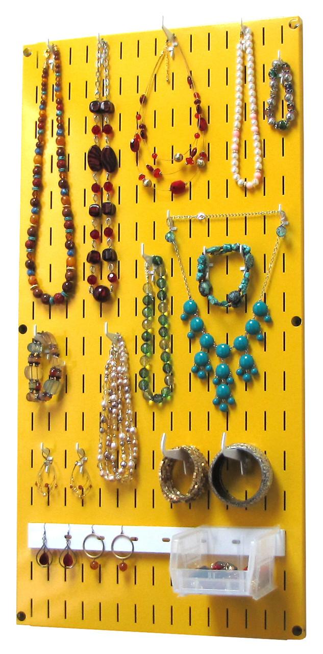 Jewelry Organizer Yellow Wall Hanging Jewelry Holder Necklace Rack  sc 1 st  Wall Control & Jewelry Organizer Wall Hanging Jewelry Holder Necklace Rack - Yellow Wall Mounted Jewelry Organizer