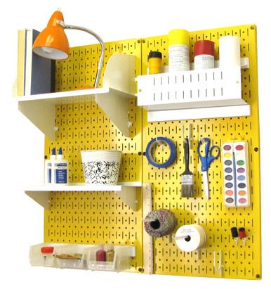 Metal Pegboard Craft Organizer Yellow Craft Peg Board
