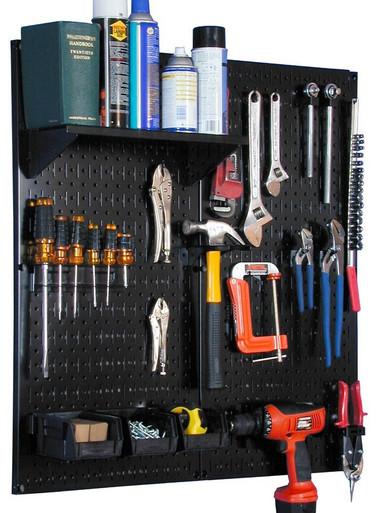 Garage Pegboard Utility Tool Organizer Kit Black