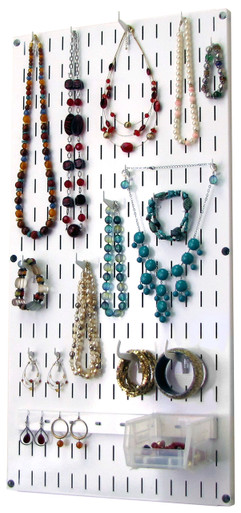 Jewelry Organizer Wall Hanging Jewelry Holder Necklace Rack White Metal Pegboard