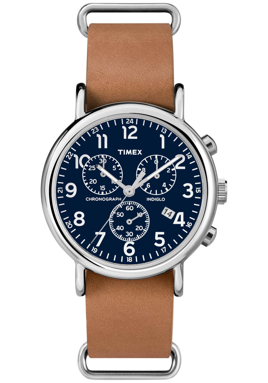 Timex Weekender Chrono Blue Tan Watches Com