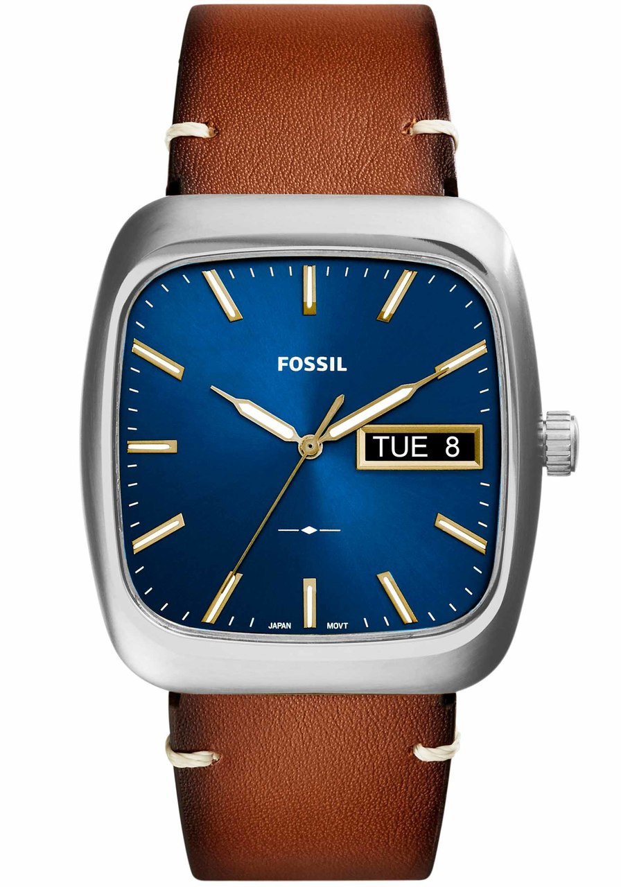 men s watches brown dp watch with stainless steel leather nate com fossil amazon band