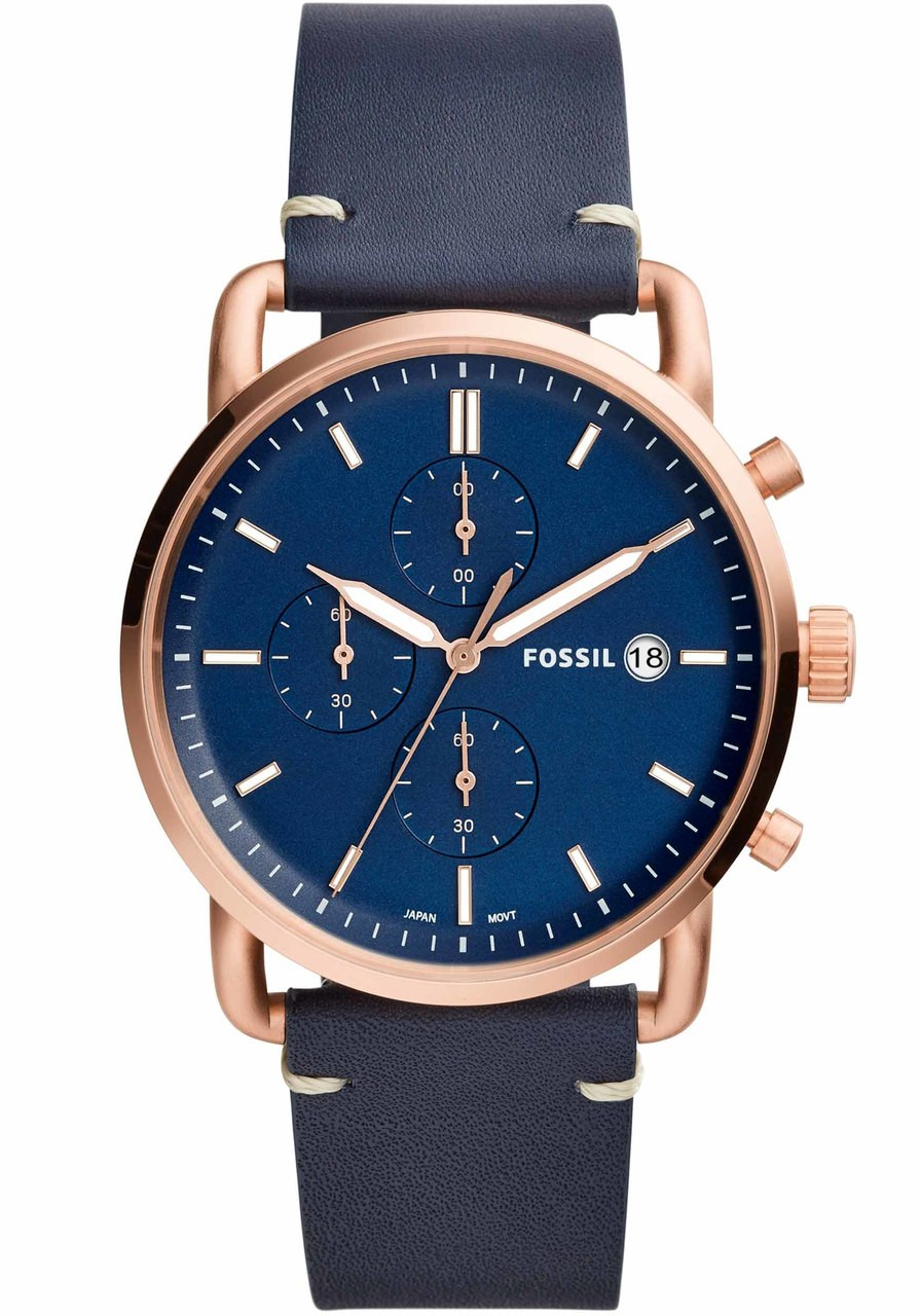 leather watch b chronograph navy grant watches productdetail fossil