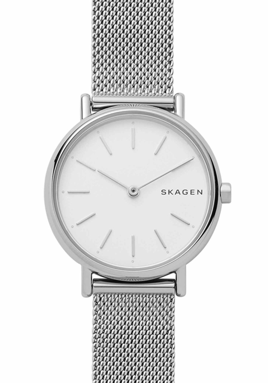 stainless metal watch ladies anita silver dial skagen steel mesh watches