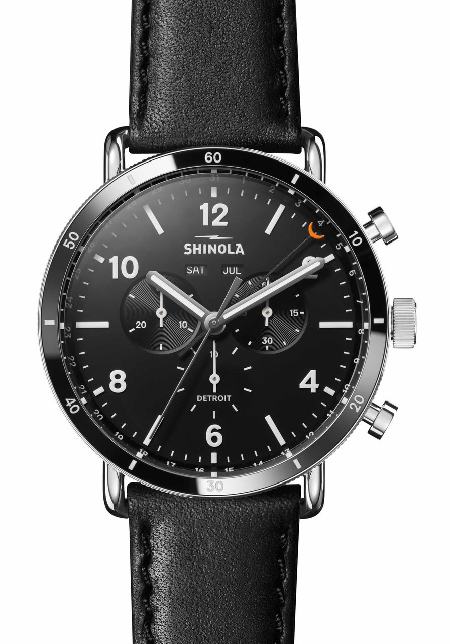chrono calendar steel shinola blue midnight sport canfield watches