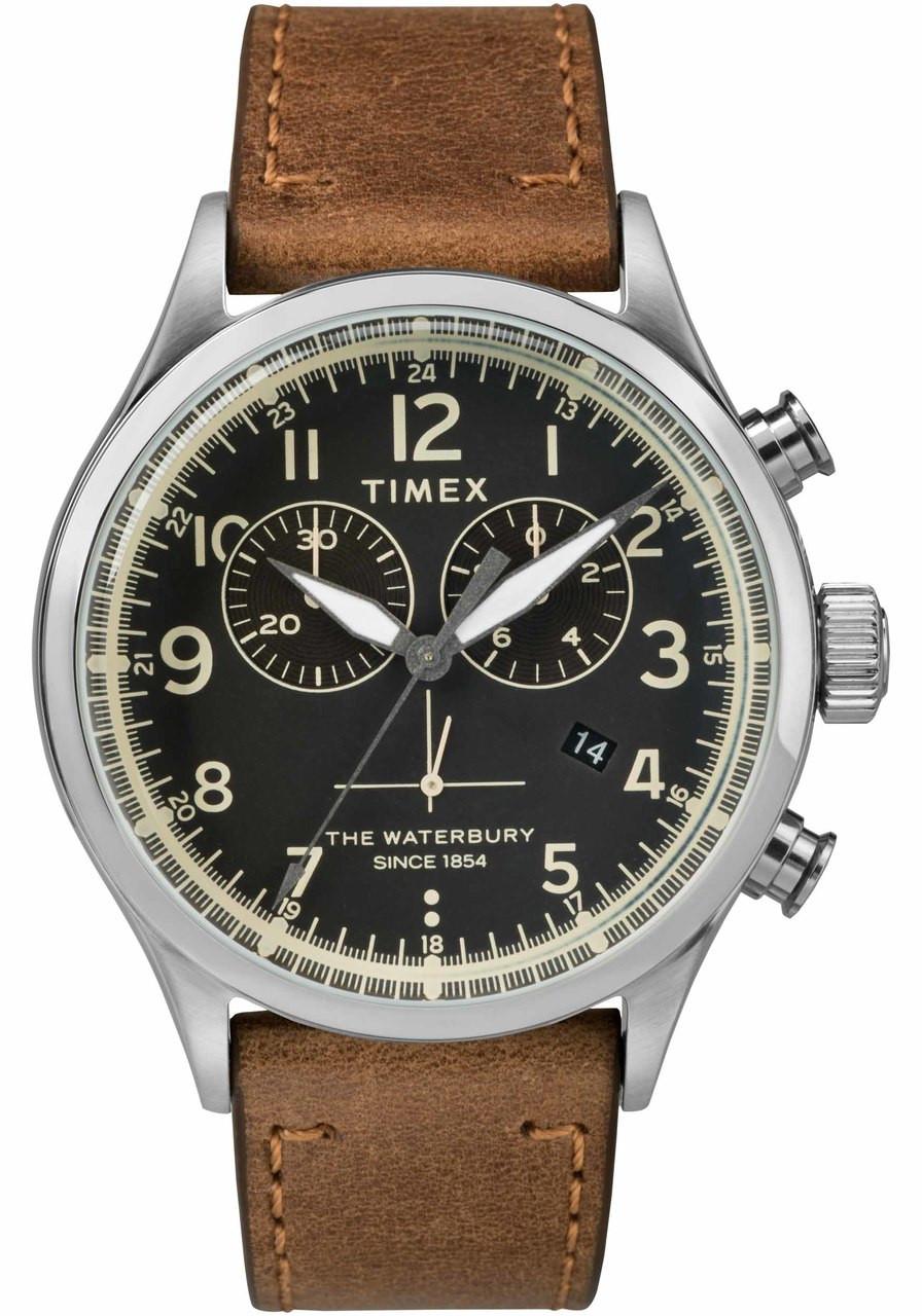 Timex waterbury traditional chrono black tan for Black tan watch