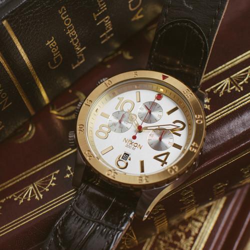 Nixon 48-20 Chrono Leather Silver/Gold (A3631884)