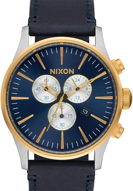 Nixon Sentry Chrono Leather Gold/Blue Sunray