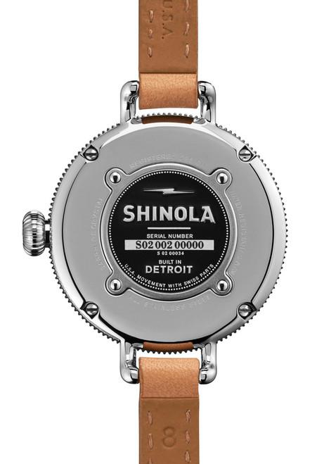 Shinola Birdy 34mm, White Dial, Natural Leather Strap