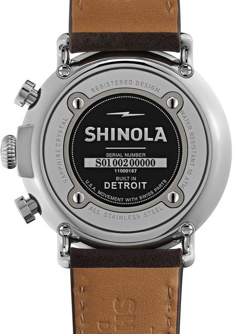 Shinola Runwell  47mm, Slate Blue, Deep Brown Leather Strap