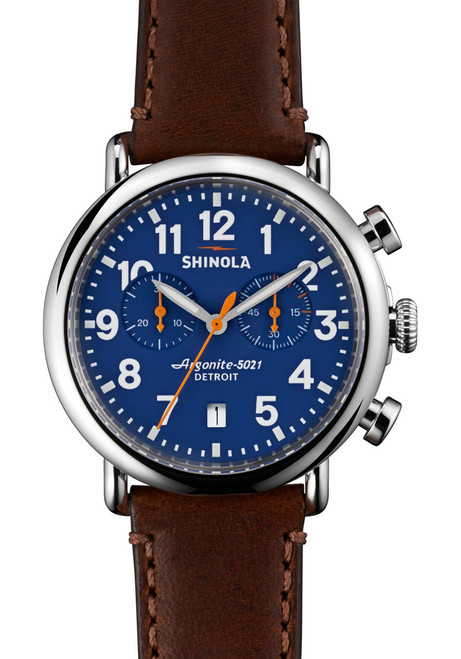 Shinola Runwell Chrono 41mm, Blue Dial, Brown Leather Strap