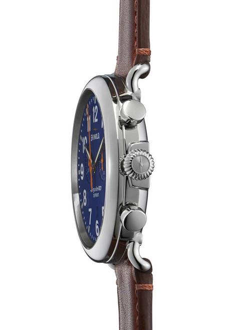Shinola Runwell Chrono 47mm, Blue Dial, Brown Leather side (S0110000047)