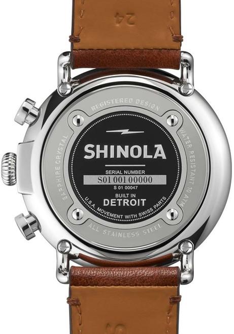 Shinola Runwell Chrono 47mm, Blue Dial, Brown Leather back (S0110000047)