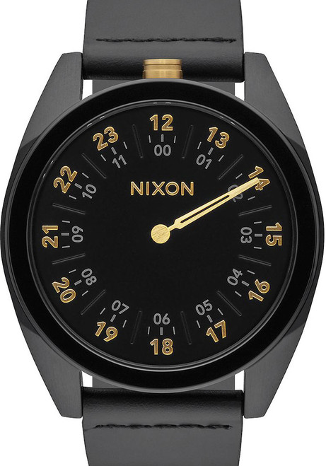 Nixon Genesis Leather All Black/Gold One Hand watch