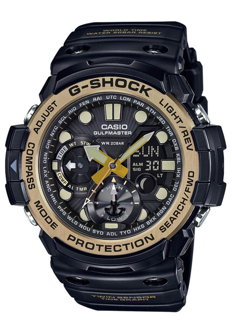 G-Shock Gulfmaster Tide Black Vintage Gold (GN-1000GB-1A)