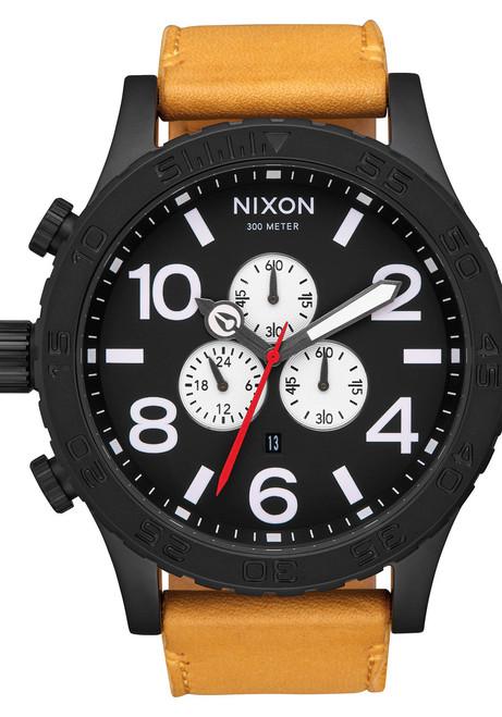 Nixon 51-30 Chrono Leather All Black Goldenrod (A1242448)