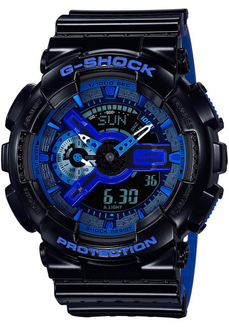G-Shock Miltary Perforated Black Blue (GA-110LPA-1A) watch front