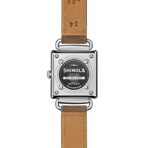 Shinola Cass 28mm Grey Leather Navy Mother of Pearl