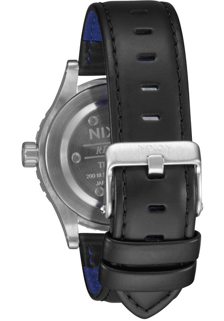 Nixon 38-20 Leather Silver Black Blue (A4672184) strap