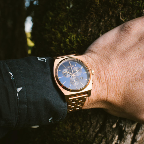 Good Watch Brands For Men >> Nixon Time Teller Chrono All Rose Gold Navy Sunray | Watches.com