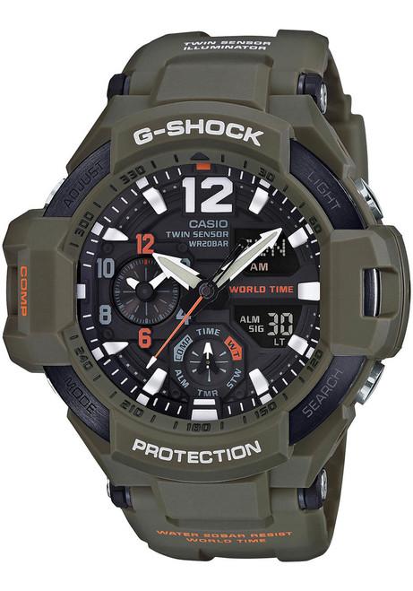 G-Shock GravityMaster Twin Sensor Olive Green (GA-1100KH-3A) FRONT