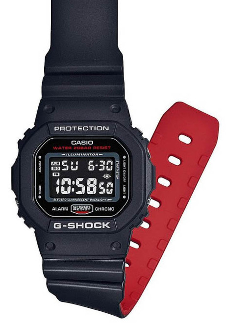 G-Shock DW-5600HR Black Red (DW-5600HR-1) FLAT