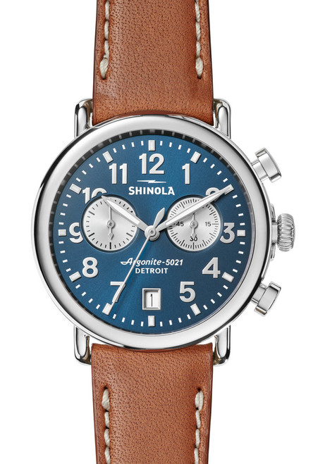 Shinola Runwell Chronograph Tan Blue (S0120044131) front