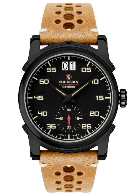 CT Scuderia Testa Piatta Big Date Leather Black Tan (CS30003)